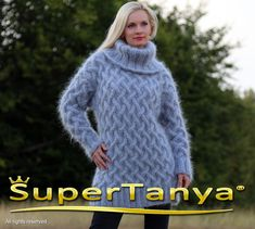 Cable knit pullover handmade fuzzy mohair sweater thick ski jumper by SuperTanya Mohair Yarn, Mohair Sweater, Cable Knit Sweaters, Icelandic Sweaters, S Models, Shawls And Wraps, Hand Warmers, Hand Knitting, Knitwear