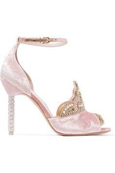 5425bd5c770 Sophia Webster - Royalty embellished velvet and metallic leather sandals