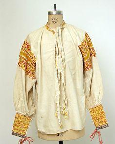 Shirt.  Date: 19th century. Culture: Slovak. Medium: cotton. Dimensions: Length at CB: 27 1/2 in. (69.9 cm).