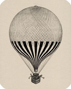 Hot Air Balloon Engraving Digital Image Download Vintage Image Transfers For Pillows Clothing Tea Towels Tote Bags No. 105. $1.00, via Etsy.