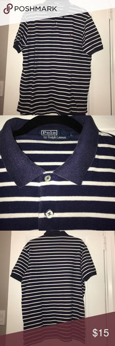 Ralph Lauren Polo navy & white short sleeve polo Ralph Lauren Polo navy & white striped short sleeve pique polo. Matching 4T also on sale Polo by Ralph Lauren Shirts Polos