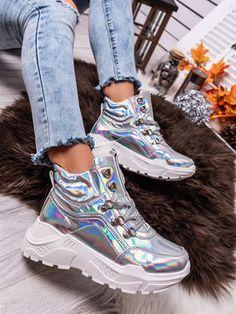 Dámske strieborné mohutné holografické tenisky LV93-6ST Sneakers, Tennis Sneakers, Slippers, Sneaker, Women's Sneakers, Cross Training Shoes
