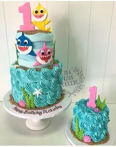For A Boy Girl Birthday Cake Mermaid Shark