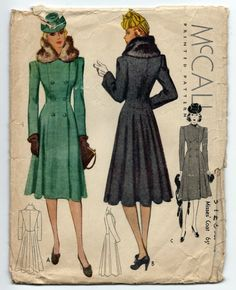 1930s Vintage Sewing Pattern McCall 3426 Peacoat Coat Fitted Fur Collar Art Deco