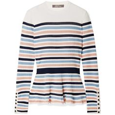 Lela Rose Striped ribbed stretch-knit peplum sweater (2.620 RON) ❤ liked on Polyvore featuring tops, sweaters, pink, pink peplum top, stripe sweaters, multi color sweater, multi colored striped sweater and colorful sweaters