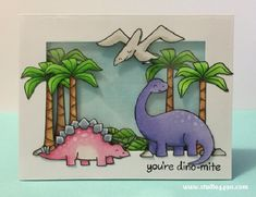 You're Dino-mite Shaker Card (Lawn Fawn Lawn Fawn - Critters from the Past _ awesome shaker card by Kylie at Boy Cards, Kids Cards, Paper Crafts Magazine, Dinosaur Cards, Lawn Fawn Blog, Lawn Fawn Stamps, Shaker Cards, Animal Cards, Card Tags