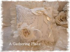 Vintage Lace Keepsake Pillow,,,perfect as a Ring Bearer Pillow!  Happy to take special orders!  Vintage laces, vintage millinery blooms, old rayon ribbons and aging buttons!  100% Silk ruffle, too!