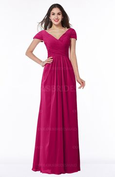 59bbda371d29 Beetroot Purple Glamorous A-line Short Sleeve Floor Length Ruching Plus  Size Bridesmaid Dresses (