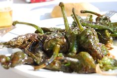 Padrón peppers (fried green peppers) Found all over Spain as a tasty Spanish starter!