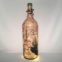 Vintage Paris Wine Bottle Lamp by TheWineLadyco on Etsy Bottle Lamps, Vintage Paris, Led String Lights, Night Light, Vodka Bottle, Best Gifts, Gift Ideas, Wine, Glass