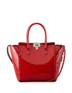 valentino punkouture studded patent tote bag