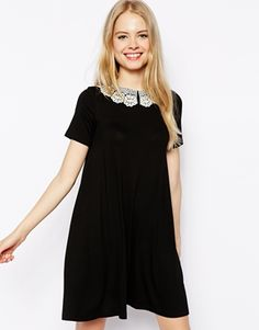 ASOS Swing Dress With Crochet Collar And Short Sleeves