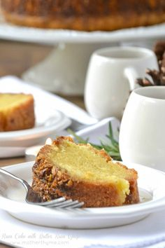 Rum Cake with Butter Rum Glaze from Mother Thyme. I've been wanting a Recipe for Rum Cake ;from scratch, no cake mx Just Desserts, Delicious Desserts, Dessert Recipes, Yummy Food, Cupcake Recipes, Dessert Ideas, Pasta Recipes, Cupcakes, Cupcake Cakes