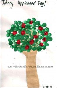Fun Handprint and Footprint Art : Johnny Appleseed Day ~ Hand & Fingerprint Apple Tree Acorn Crafts, Tree Crafts, Fall Crafts, Apple Crafts, Leaf Crafts, Holiday Crafts, Holiday Ideas, Toddler Crafts, Crafts For Kids