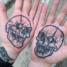 Emo Tattoos, Black Ink Tattoos, Skull Tattoos, Body Art Tattoos, Tattoos For Guys, Sleeve Tattoos, Hand Tattoos For Men, Hand Palm Tattoos, Black Work Tattoo