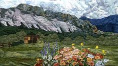 El Rancho Pinoso     Original Landscape Quilt, Watercolor Quilt
