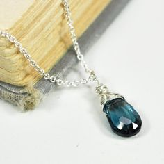 December Birthstone, London Blue Topaz Necklace in Sterling Silver, Wire Wrapped Gemstone, Kristin Noel Designs