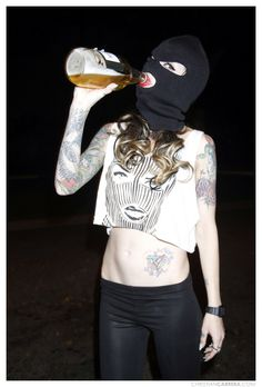 #WomenDrinkingBeer #badwood #skimasks #40ounce #girlswithtattoos #tattoosleeve #christiancarrera #skimask #vandal #thirsty #losangeles #beer