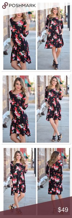 Black Floral 3/4 Sleeve Tunic Dress with Pockets Coming soon! Like to be notified! Infinity Raine Dresses Midi