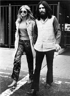 Pattie Boyd and George Harrison at the airport seeing off Bob and Sara Dylan.