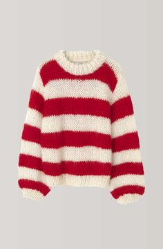 Red and white sweater Striped arm knit sweater - Hand Knit color set women sweater - Wool yarn knit sweater Arm Knitting women pullover Knitted Doll Patterns, White Sweaters, Women's Sweaters, Chunky Sweaters, Hand Knitted Sweaters, Pullover Sweaters, Knit Fashion, Striped Knit, Look Cool