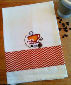 Dish Towel CHEVRON COFFEE / CAFE MOCHA theme Embroidered Kitchen Towel