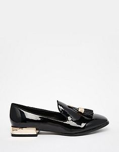 Daisy Street Patent Tassel Loafer Flat Shoes