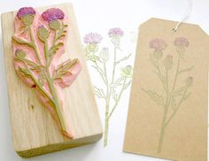Thistle Hand carved Rubber Stamp by The by LittleStampStore