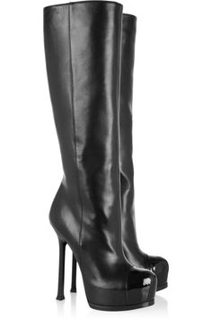 Gorgeous @YSLTribtoo leather and patent knee boots available @NETAPORTER #shoeporn ~