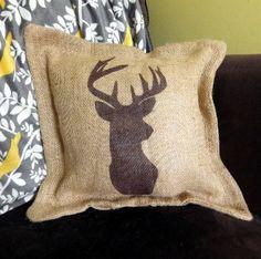 $38 Deer Burlap Pillow Get yours here: http://www.morgan-company.com/product.cfm?p=3872&c=47&page=deer-burlap-pillow