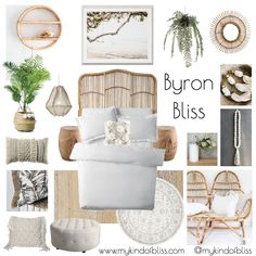 calming coastal, my kind of bliss, boho style, hamptons, pom pom, cane furniture, bohemian bedroom, mood board, coastal decor, byron bay, interior stylist, bedroom, white room, property stylist, bedroom inspo, coastal styling, home decor, linen, white walls, palm, macrame, homewares, cushions, room design, beach house, coastal home