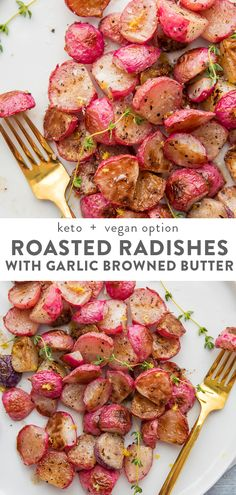 Roasted Radishes with Garlic Browned Butter - Whole Healthy Days are here again - These roasted radishes are next level! A delicious and easy low carb side dish, radishes are roaste - Radish Recipes, Veggie Recipes, Vegetarian Recipes, Cooking Recipes, Healthy Recipes, Low Carb Summer Recipes, Healthy Food, Low Carb Side Dishes, Healthy Side Dishes
