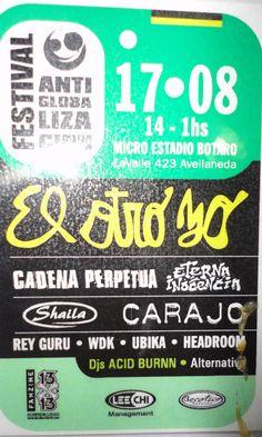 Credencial de la participación de dj acidburn en el festival anti globalizacion