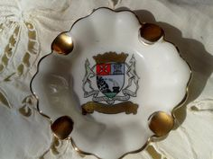 1937/ 1949 Gerold Bavaria  Hand -  painted marks rare #ashtray from #WWII era. Gorgeous blazon from Luchon town in France…