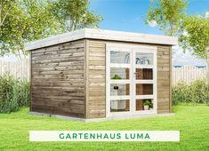 Gartenhaus modern: Das Gartenhaus Luma besticht durch sein modernes Design und zieht alle Blicke auf sich. Über die große Doppeltür gelangen Sie in den Innenraum, in dem Sie Gartengeräte verstauen können oder sich einen gemütlichen Rückzugsort einrichten können. Das Modell ist in verschiedenen Größen erhältlich, sodass es sicherlich auch in Ihren Garten passt. Jetzt Produkt ansehen!  #Gartenhaus #Flachdach #Gartenlaube #modern Backyard Cottage, Shed, Outdoor Structures, Garage Doors, Outdoor Decor, Home Decor, Products, Room Interior, Homemade Home Decor