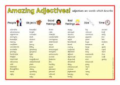 Adjective list from sparklebox.co.uk