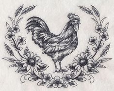 Machine Embroidery Patterns Machine Embroidery Designs at Embroidery Library! - New This Week Border Embroidery, Machine Embroidery Patterns, Hand Embroidery, Custom Embroidery, Embroidery Ideas, Huhn Tattoo, 1 Tattoo, Farm Tattoo, Chicken Tattoo