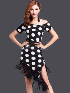 35f081ffff Two Tone Latin Dance Dress Fringe Polka Dot Milk Silk Dress. Feria De  SevillaChalecos HombrePantalonesVestidoMujeresHombresVestidos De Salón De  BaileTraje ...
