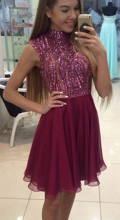 Pink Halter homecoming dress, Tulle homecoming dress,short prom