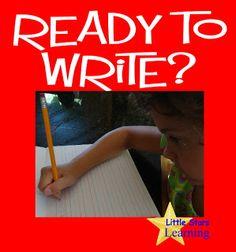 Little Stars Learning: Ready to Write? Indicators, motor skills, pre-writing, beginning activities, progression Sand Writing, Pre Writing, Kids Writing, Writing Skills, Writing Tips, Preschool Writing, Preschool Literacy, Writing Activities, Kindergarten
