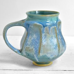 Faceted Mug in Ice Blue by Lee Wolfe Pottery