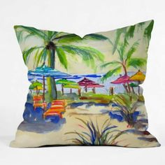 DENY Designs Caribbean Time by Laura Trevey Indoor/Outdoor Throw Pillow Watercolor Design, Watercolor Print, Outdoor Throw Pillows, Decorative Throw Pillows, Decor Pillows, Sunshine In My Pocket, Coastal Gardens, Coastal Decor, Coastal Living