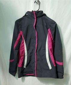 L-L-Bean-Girls-Youth-Light-weight-jacket-coat-Size-Large-14-16-Pink-Gray