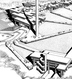 Paul Rudolph's rendering of UMass Dartmouth North Campus. Courtesy, UMass Dartmouth