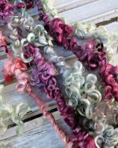 Handspun Art Yarn  Curly Wool Yarn  OOAK Bulky Yarn  Hand