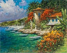 """Marko Mavrovich Handsigned and Numbered Limited Edition Giclee on Canvas:""""Life on the Adriatic"""" Artist:Marko Mavrovich Title:""""Life on the Adriatic"""" Image Size: x Edition:Artist Hand Signed and Numbered Limited Edition to 95 Medium:E Tuscany Landscape, Italian Painters, Book Show, Detailed Image, Traditional Art, Book Art, Art Gallery, Places To Visit, Canvas"""