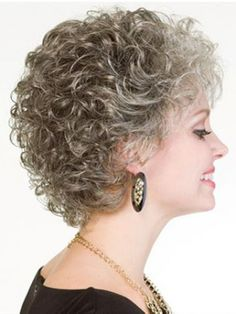 Short Curly gray Synthetic Hair Capless Wig Curly Hair Styles, Short Curly Hair, Short Hair Cuts, Perms For Short Hair, Prom Hairstyles For Short Hair, Wig Hairstyles, Pelo Color Plata, Grey Hair Wig, Stylish Hair