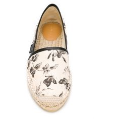 Espadrillas with herbarium print ❤ liked on Polyvore featuring shoes, black leather flats, leather flat shoes, black espadrille flats, woven leather shoes and beige flat shoes