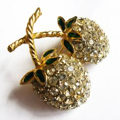 Vintage Double Cherry Rhinestone Brooch/Pin - Vintage Jewelry by FembyDesign
