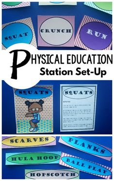 Physical education station set-up that is ready to go for you. Sixteen different stations with 3 different labels for each station making it flexible to use anywhere. Included with each station are instructions, descriptions and suggestions on how to implement! These are not only great for physical education but are fabulous for a classroom or therapies! #physicaleducation